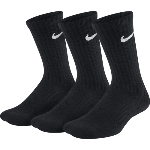 SKARPETY JUNIOR NIKE PERFORMANCE CUSHIONED CREW TRAINING SOCKS 3 PARY CZARNE SX6842-010